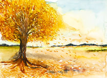 Falling leave landscape watercolor painted Stock Photos