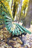 Falling leaves. Autumn in city Park in yellow leaves. Yellow maple leaves on garden bench, sad mood of past summer stock image
