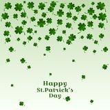 Falling leaves of clover with inscription Happy St. Patricks Day. Vector illustration royalty free illustration