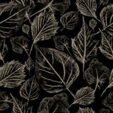 Falling leaves on a dark background, seamless pattern Stock Photography