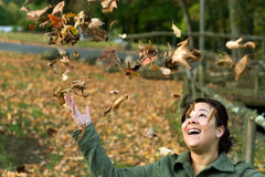 Falling Leaves Girl Royalty Free Stock Photos