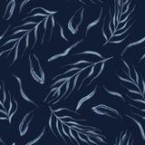 Falling Leaves Indigo Pattern Seamless Vector. Faded Denim Blue Batik vector illustration