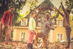 Falling leaves and my family. This autumn season is so funny royalty free stock photography