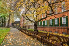 Falling leaves in the London park with wooden bench for seat in autumn. Falling leaves in the park with wooden bench for seat in autumn in London stock image