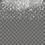 Falling of lights on transparent background. Glitter particle effects. Vector Royalty Free Stock Photos
