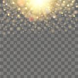 Falling of lights on transparent background. Glitter particle effects. Vector Stock Images