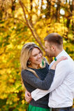 Falling in love autumn. embracing couple Royalty Free Stock Photos