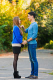 Falling in love autumn Royalty Free Stock Image