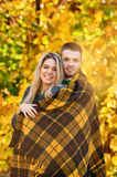 Falling in love autumn. smiling couple portrait Royalty Free Stock Images