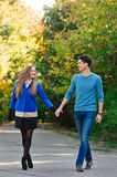 Falling in love autumn. walking couple Stock Photography