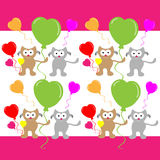 Falling love cats with hearts balloon on color background Stock Image