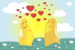 Falling in love ghosts, cute monsters, solar landscape.  Royalty Free Stock Images