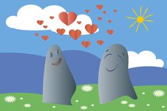 Falling in love ghosts, monsters, solar landscape. Green meadows, blue mountains, sky, white clouds, daisies, yellow sun, red heart. Valentine's day, vector stock illustration