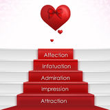 Steps To Love. Step by Step To Love - falling in love process with hearts, stairs, red carpet, ribbon and stairs. Concept love card for valentines day, mother Stock Image