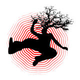 Falling man with tree in head. Illustration of man falling with tree growing from his head Stock Photography