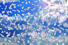Falling many euro banknotes. On a sky background Stock Image