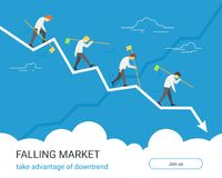 Falling markets and taking advantage of downtrend Stock Photos