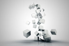 Falling metallic cubes Stock Photography