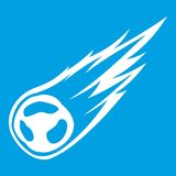 Falling meteor with long tail icon white. Isolated on blue background vector illustration Royalty Free Stock Images