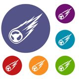 Falling meteor with long tail icons set. In flat circle reb, blue and green color for web Stock Image