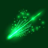 Falling Meteorite. Falling Green Meteorite  Isolated on  Sky Background Royalty Free Stock Image