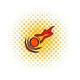 Falling meteorite icon, comics style. Falling meteorite icon in comics style on a white background Royalty Free Stock Image