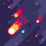 Falling meteors. Flat style. Stock Images