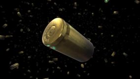 Falling 9mm Bullet Casings stock footage
