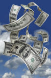 Falling Money $100 Bills. Photo of Falling Money, $100 Bills in the sky Stock Photography