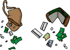 Falling Money. Drawing of a purse and wallet with loose credit cards and cash Royalty Free Stock Photography