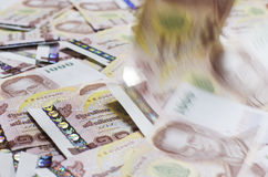 Falling of Money. Thai Baht Cash Royalty Free Stock Photo