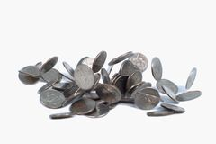 Falling money. A view of falling US quarter coins stock photo