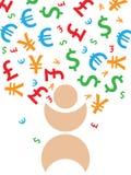 Falling money. Illustration concept of falling money Stock Photography