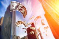 Falling Money $100 Bills. Photo of Falling Money $100 Bills Royalty Free Stock Images