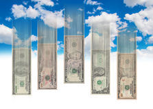 Falling Money. Business concept - Falling money from the sky wit high speed Royalty Free Stock Photography