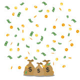 Falling Money dollars and gold coins. Stock Photography
