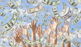 Falling Money Hands Dollars Banner Background. Hands reaching out to catch American dollars falling out of a blue sky royalty free stock photo
