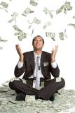 Falling Money Man. Business man catching falling money Royalty Free Stock Photos