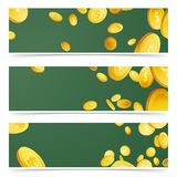 Falling money rain over green flyers collection Royalty Free Stock Photos