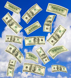 Falling money and sky Stock Image