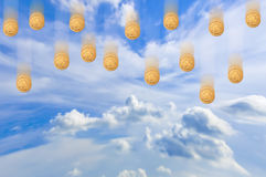 Falling money from the sky Royalty Free Stock Photos