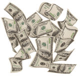 Falling moneys $100 bills Stock Images
