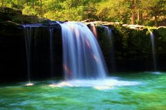 Falling Natural Spring Waterfall and Pool Stock Photo