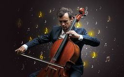 Falling notes with classical musician stock photos