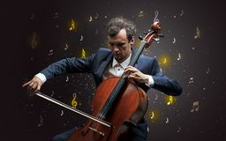 Falling notes with classical musician royalty free stock photography