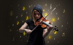 Falling notes with classical musician stock images