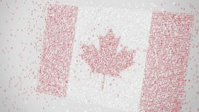 Many numbers compose flag of CANADA. Digital economy conceptual 3D rendering. Falling numbers compose national flag. Conceptual 3D royalty free illustration