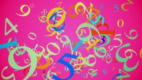 Falling numbers in various colors on pink. In backgrounds stock video