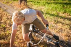 Falling off a bicycle. royalty free stock image