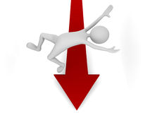 Falling off downward market arrow Royalty Free Stock Photos
